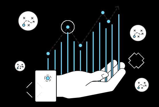 Demand-forecasting hand chart clipart